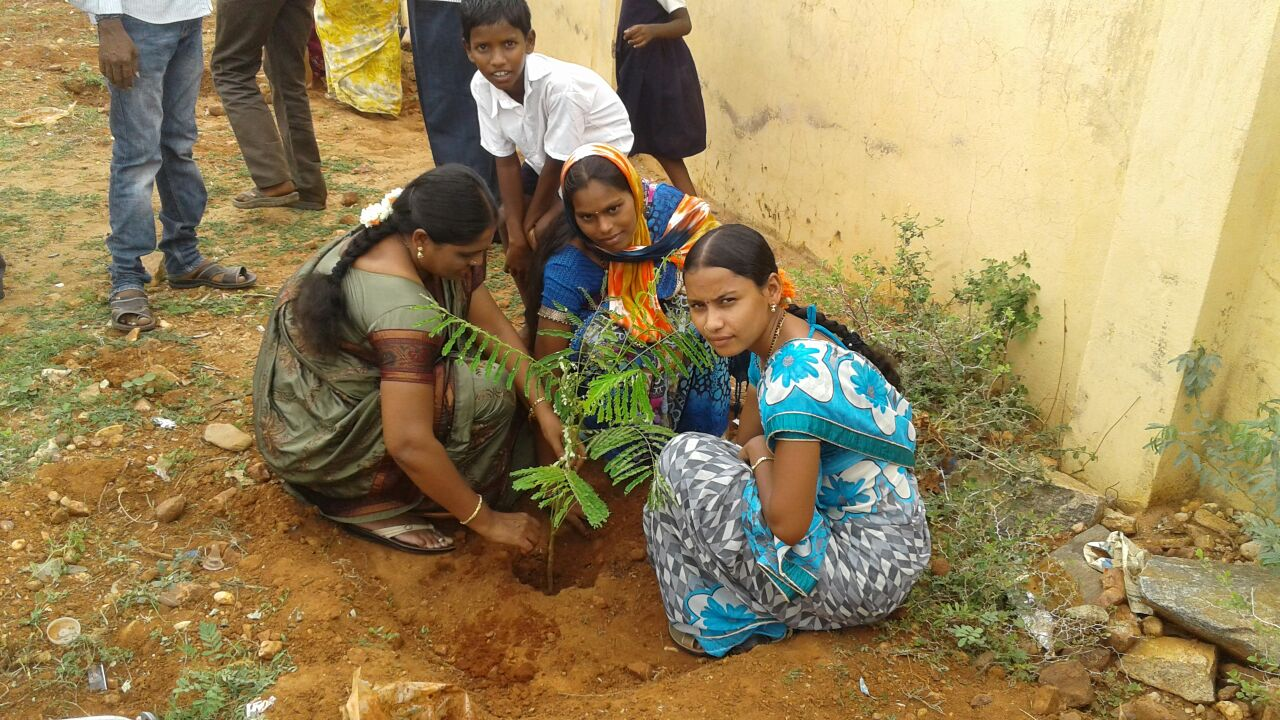 Earth kids and parents demonstrating planting trees.
